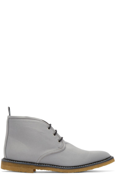 Thom Browne - Grey Canvas Desert Boots