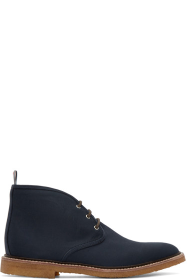 Thom Browne - Navy Canvas Desert Boots