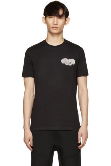Markus Lupfer - Black Sequin Skull Heart T-Shirt