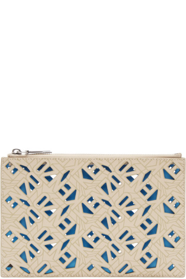 Kenzo - Beige Leather Flying Tiger Pouch