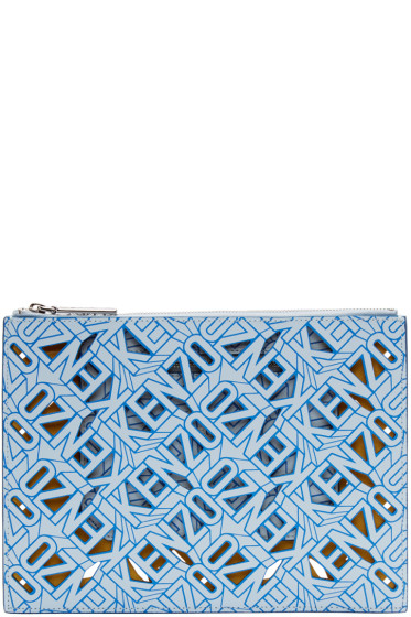 Kenzo - Blue Leather Flying Tiger Kenzo Pouch