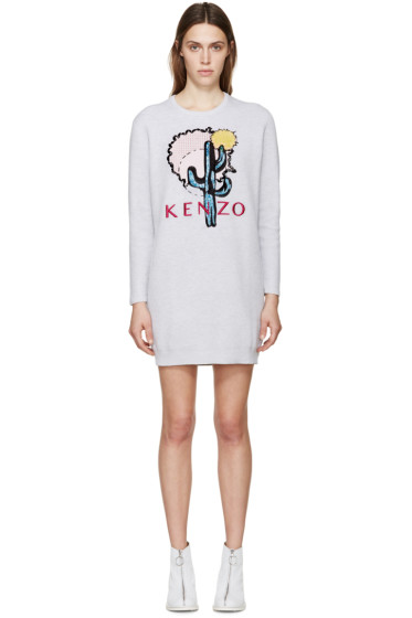 Kenzo - Grey Cactus Embellished Dress