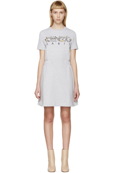 Kenzo - Grey Logo Sweatshirt Dress