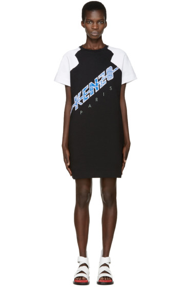 Kenzo - Black Diagonal Logo Dress