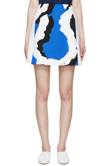 Kenzo - Blue Printed A-Line Skirt