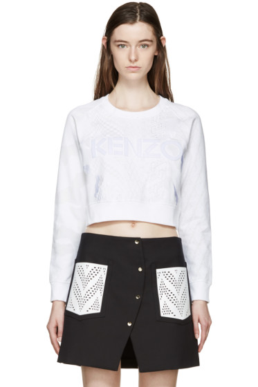 Kenzo - White Embroidered Cropped Sweatshirt