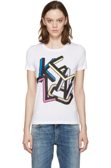 Kenzo - White & Multicolor Logo T-Shirt