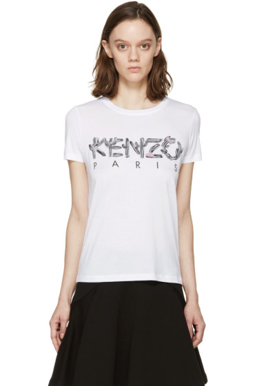 Kenzo - White & Grey Cactus Logo T-Shirt