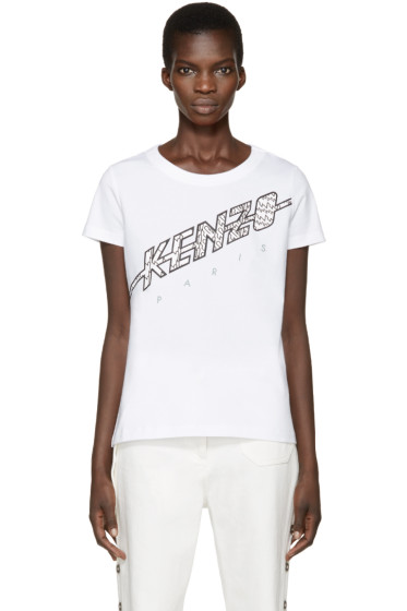 Kenzo - White Diagonal Logo T-Shirt