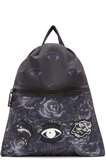Kenzo - Navy Printed Drawstring Backpack