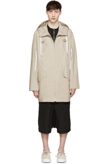 Kenzo - Beige 'Pull Here' Hooded Coat