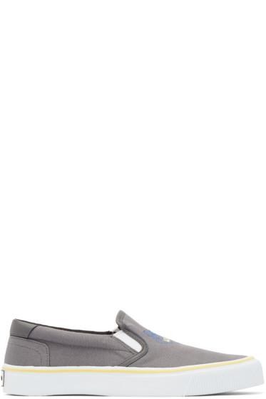 Kenzo - Grey Tiger Slip-On Sneakers