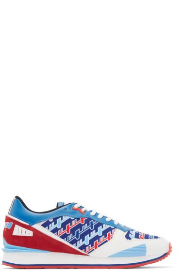 Kenzo - Tricolor Neoprene & Leather Diagonal Sneakers