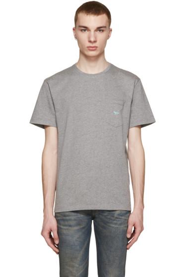 Maison Kitsuné - Grey Embroidered Pocket T-Shirt