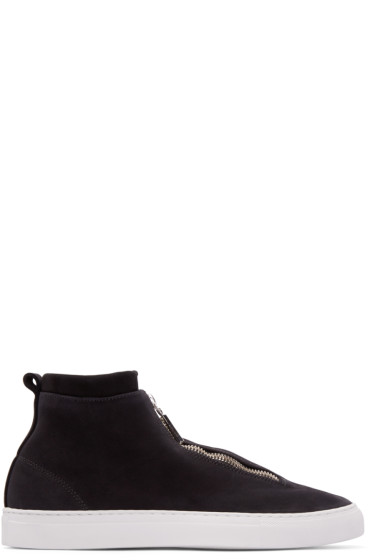 Diemme - Black Leather Fontesi High-Top Sneakers