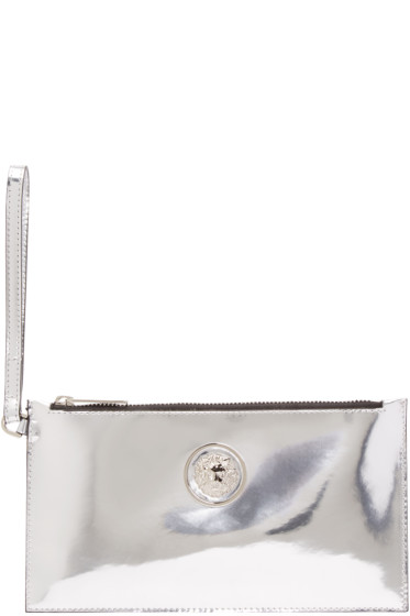 Versus - Silver Leather Zip Pouch