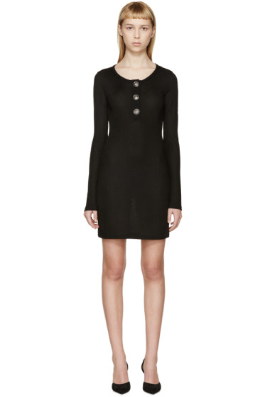 Versus - Black Rib Knit Henley Dress