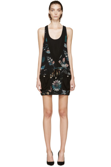 Versus - Midnight Blue Floral Anthony Vaccarello Edition Layered Dress