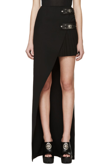 Versus - Black Pleated Asymmetrical Skirt