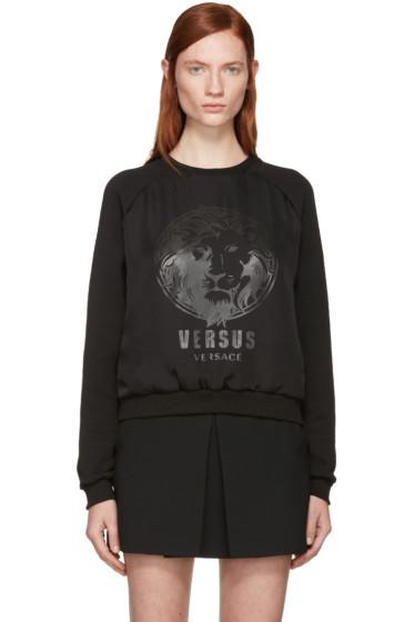 Versus - Black Chiffon Overlay Logo Sweatshirt