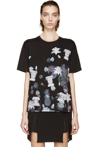 Versus - Black & Purple Floral Anthony Vaccarello Edition T-Shirt