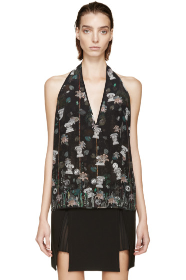 Versus - Black Patterned Anthony Vaccarello Edition Halter Top