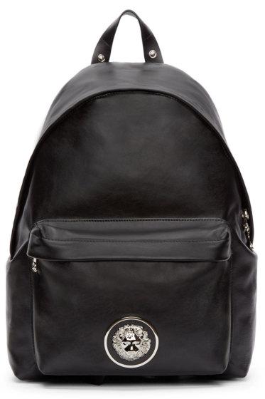 Versus - Black Leather Lion Head Backpack