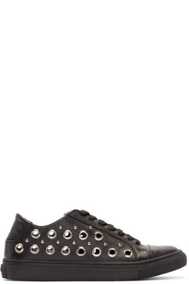 Versus - Black Leather Eyelet Low-Top Sneakers