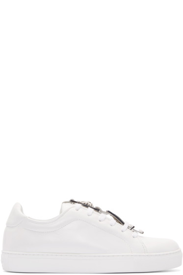 Versus - White Leather Buckle Low-Top Sneakers