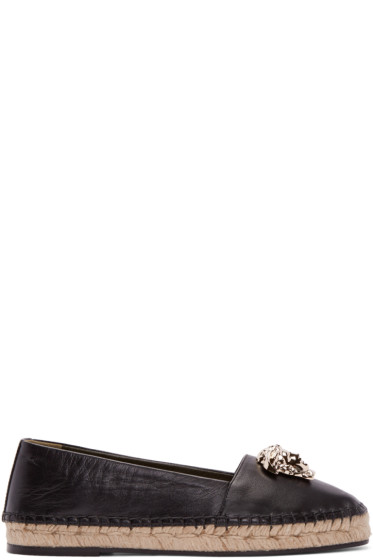 Versace - Black Leather Medusa Espadrilles