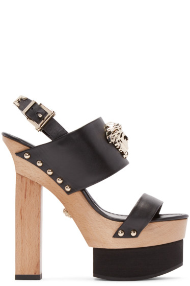 Versace - Black Leather Platform Heels