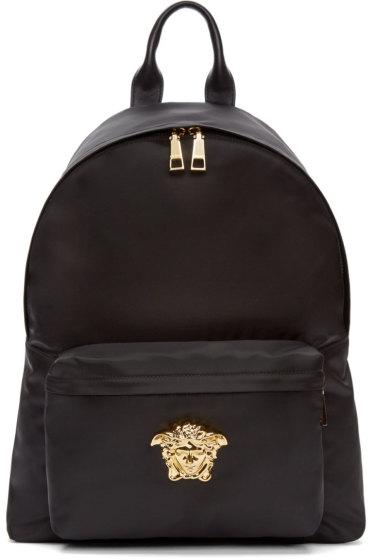Versace - Black & Gold Nylon Medusa Backpack