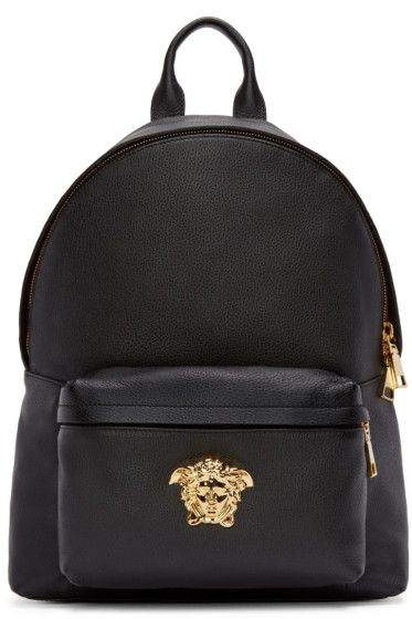 Versace - Black Leather Medusa Backpack