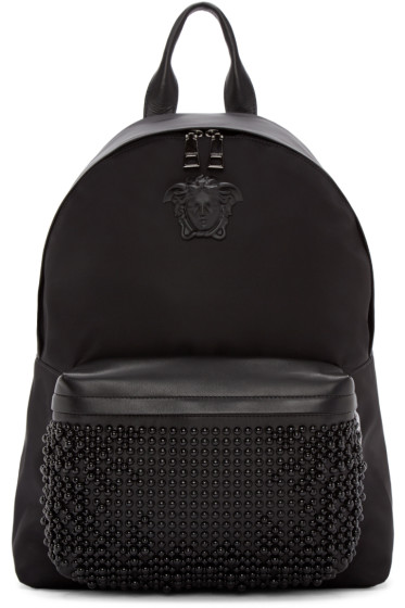 Versace - Black Nylon Studded Backpack