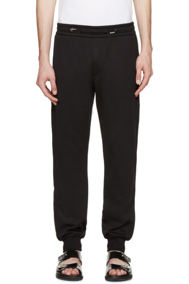 Versace - Black Leather Trim Lounge Pants