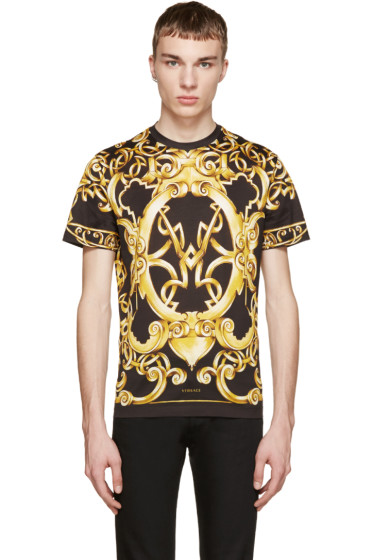 Versace - Black Baroque Print T-Shirt