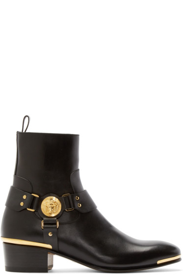 Versace - Black Medusa Harness Boots