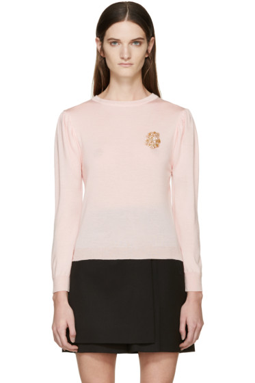 Simone Rocha - Pink Beaded Appliqué Sweater