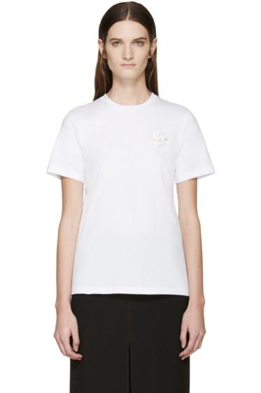 Simone Rocha - White Beaded Appliqué T-Shirt
