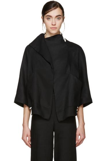 Denis Gagnon - SSENSE Exclusive Black Linen Bomber Jacket