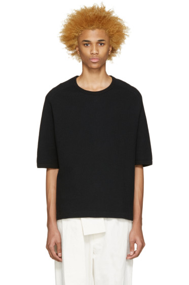 Sasquatchfabrix - Black Waffle Knit T-Shirt
