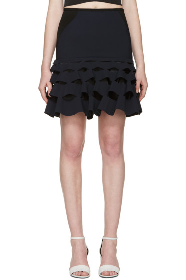 Dion Lee - Navy Cut Ruffle Miniskirt
