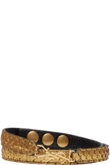 Saint Laurent - Gold Python Double Wrap Monogram Bracelet