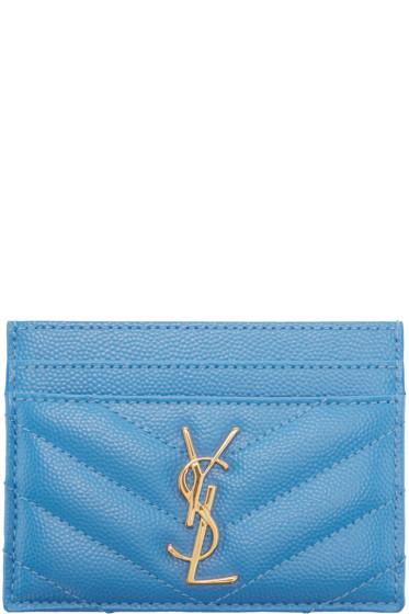 Saint Laurent - Blue Leather Monogram Card Holder