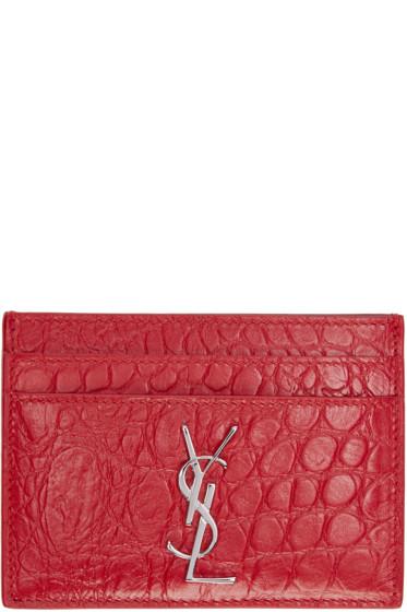 Saint Laurent - Red Leather Monogram Card Holder
