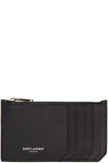 Saint Laurent - Black Leather Zippered Fragments Card Holder