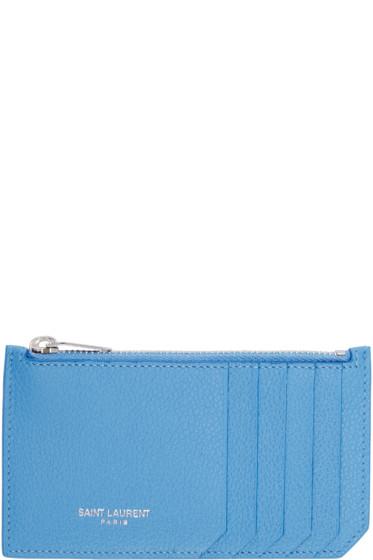 Saint Laurent - Blue Leather Zippered Fragments Card Holder