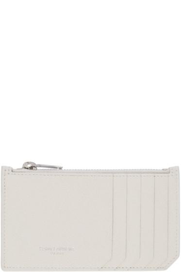 Saint Laurent - Ivory Leather Zippered Fragments Wallet