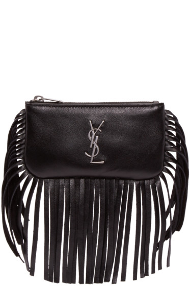 Saint Laurent - Black Leather Fringed Monogram Pouch
