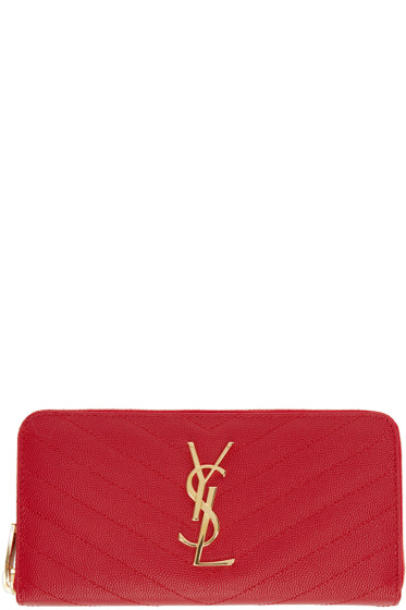Saint Laurent - Red Quilted Monogram Wallet